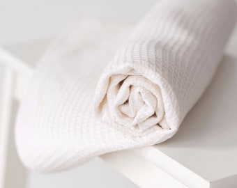 White softened linen towel, stonewashed waffle texture linen bath towel, minimalistic design. Sustainable. Biodegradable. Made in Europe