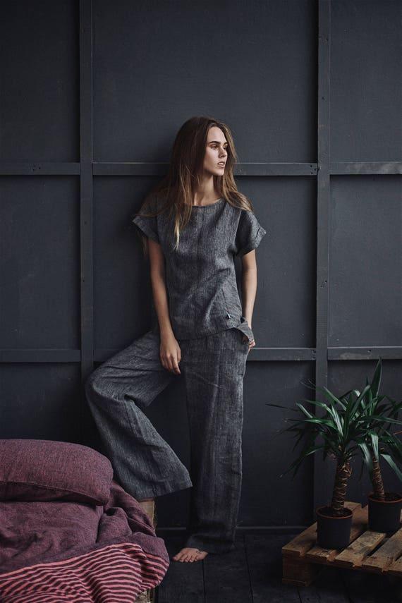 Natural Linen Pajamas Women Linen Anniversary Gift Linen  59e599d28a