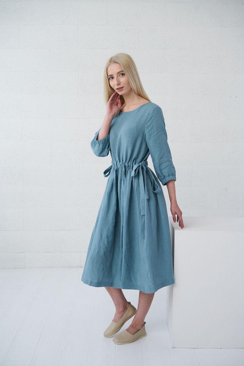 linen summer dress loose midi dress Stonewashed softened linen dusty blue Linen dress with pockets BORA-BORA