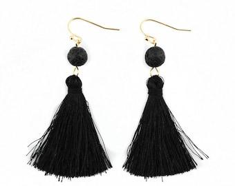 Black Silk Tassel + Natural Stone Bead Gold Statement Drop Dangle Earrings Classic Bridal Birthday Shower Bridesmaid Gift