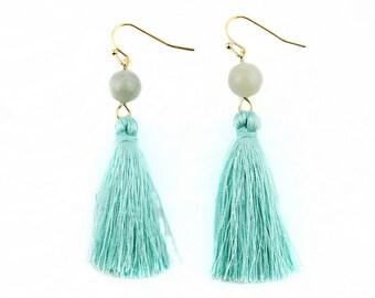 Light Blue Mint Silk Tassel + Natural Stone Bead Gold Statement Drop Dangle Earrings Bridal Birthday Shower Bridesmaid Gift