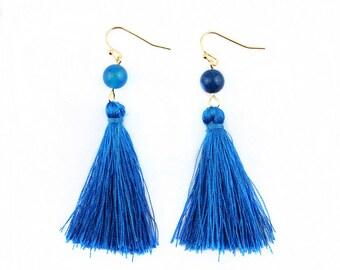 Blue Silk Tassel + Natural Stone Bead Gold Statement Drop Dangle Earrings Classic Bridal Birthday Shower Bridesmaid Gift
