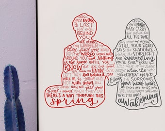 spring awakening silhouette print   hand lettered   red and gray   digital download