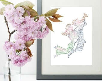 the music man musical silhouette print   hand lettered   blue, green   digital download