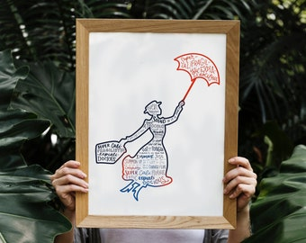 mary poppins silhouette print   hand lettered   blue and red   digital download