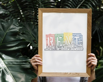 rent silhouette print   red, yellow, green, blue   digital download