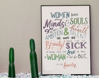 minds and souls little women print   hand-lettered   purple and blue   digital download