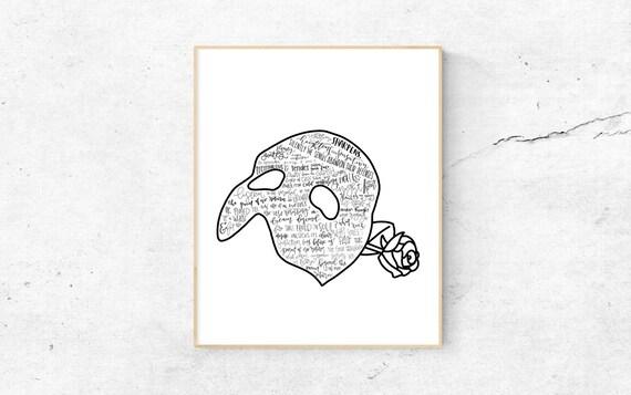The Phantom Of The Opera Musical Silhouette Print | Etsy