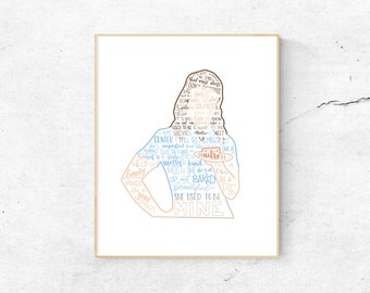Waitress Musical Silhouette Print   Hand-Lettered   Blue   Digital Download