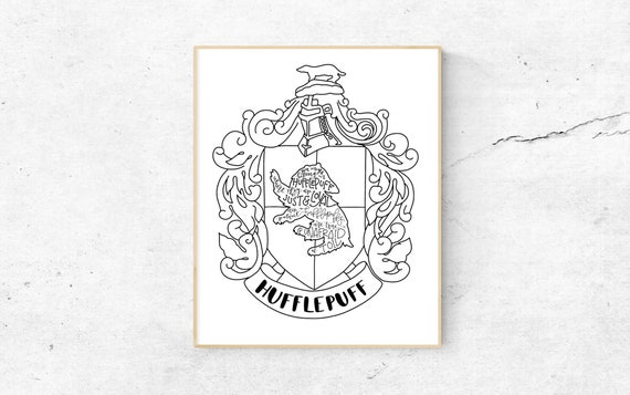 Hufflepuff Crest Print Hand-Lettered Black and White | Etsy