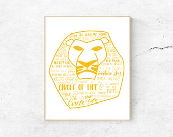 Lion King Musical Silhouette Print   Hand-Lettered   Gold/Yellow   Digital Download