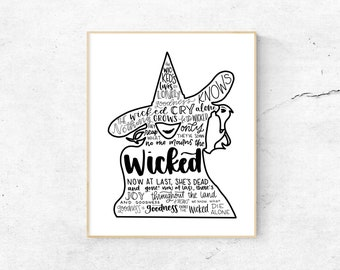 Wicked Musical Silhouette Print   Hand-Lettered   Black and White   Digital Download