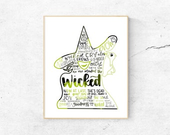 Wicked Musical Silhouette Print   Hand-Lettered   Green and Black   Digital Download