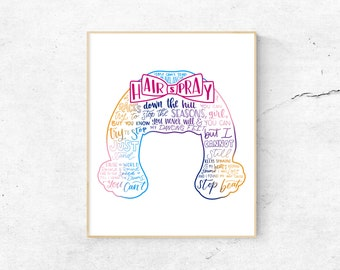 Hairspray Musical Silhouette Print   Hand-Lettered   Pink, Blue, Yellow   Digital Download