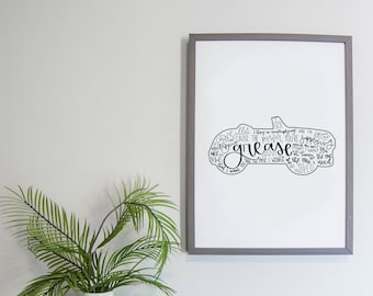 Grease Musical Silhouette Print   Hand Lettered   Black and White   Digital Download