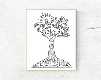 Once On This Island Musical Silhouette Print   Hand Lettered   Black and White   Digital Download