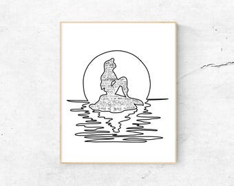 The Little Mermaid Musical Silhouette Print   Hand-Lettered   Black and White   Digital Download