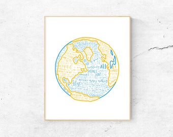 Come From Away Musical Silhouette Print   Hand-Lettered   Blue and Yellow   Digital Download