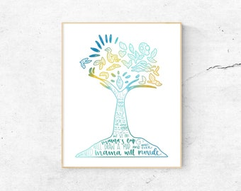 Once On This Island Musical Silhouette Print   Hand Lettered   Blue, Teal, and Yellow   Digital Download