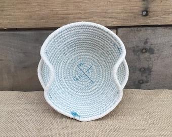 All Natural Coiled Rope basket, Rope basket, Teal basket, desk organization, Small decorative basket, basket with handles, christian gift