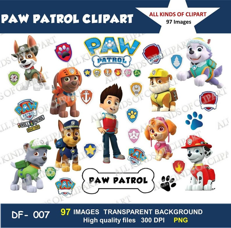 97 Paw Patrol Clipart Images 300 Dpi Iron On Transfers Stickers Decals Png File Format Transparent Backgrounds