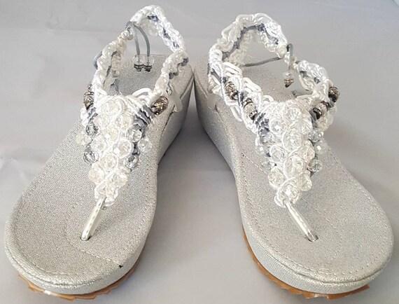 Women rhinestone  handmade embroidery  authentic Mexican soft platform sandal--huarache mexicano bordado a mano con piedreria  de plataforma