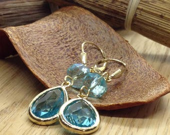 Blue Earrings Aquamarine Crystal Earrings Drop Earrings Gold Earrings Gold  Earrings Dangle Earrings Gifts for her Gold Filled Earrings