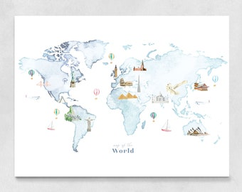 World Map Wall Art | art print, landmark, wall decor, nursery decor, world map poster, birthday gift, travel map, watercolor map, kids room