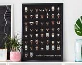 Coffee Art Print, black wall art, wall decor, coffee poster, kitchen art, kitchen decor, coffee gift, coffee lover, gift for her, food art