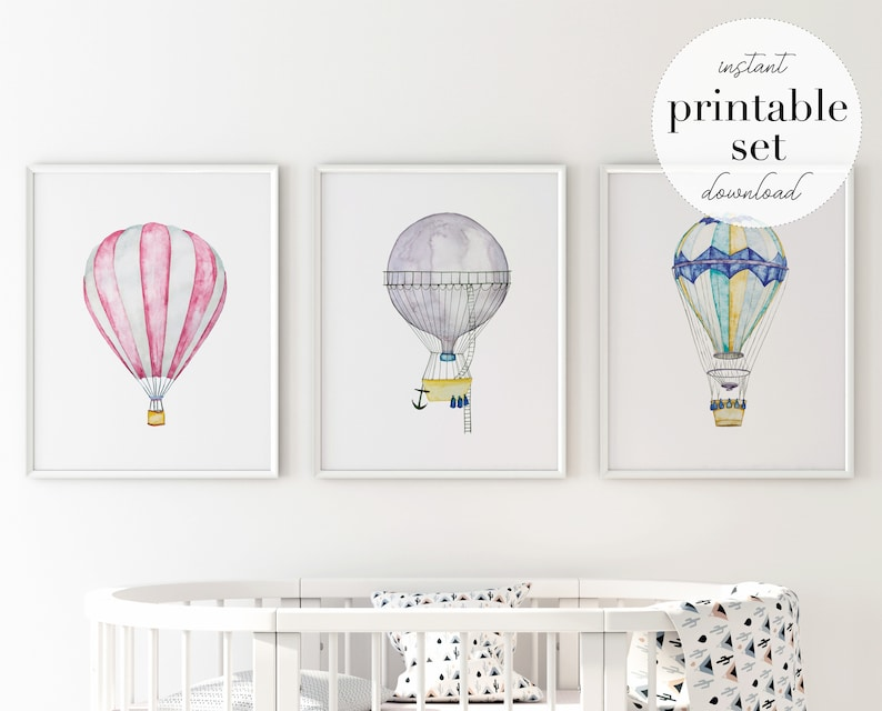 picture about Balloon Printable referred to as Scorching Air Balloon Printable Preset, case in point, wall artwork print, nursery decor, children place, drive print, drive artwork, lovely poster, little one area