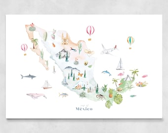 Mexico Map Art Print Illustrated, wall decor, nursery decor, world map poster, birthday gift, travel map, watercolor, map print, kids room