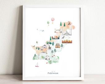 Pakistan Map Art Print Illustrated   Country Map Poster   Nursery Watercolor Decor   Travel Map Art Print   Wanderlust Travel Decor