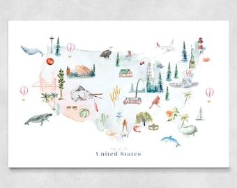 USA Map Art Print | United States wall art, landmark, wall decor, nursery decor, world map poster, birthday gift, travel map, watercolor map