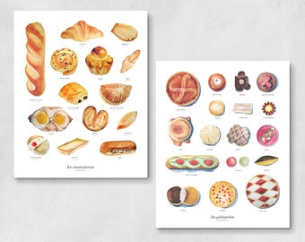 Pâtisseries Viennoiseries Art Prints | wall art, wall decor, housewarming gift, kitchen decor, home decor, watercolor painting, French, food