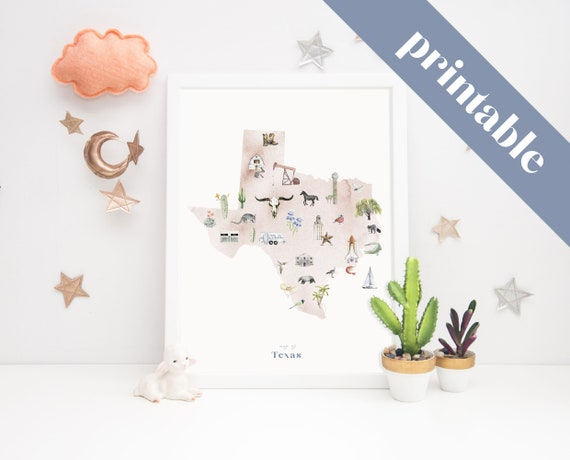 Printable Map Of Texas For Kids.Texas Printable State Map Illustrated Wall Art Print Nursery Etsy
