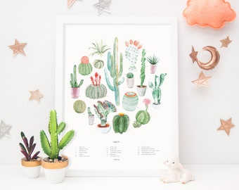 Cactus Art Print | wall art, wall decor, housewarming gift, bedroom decor, home decor, botanical print, succulents, watercolor painting