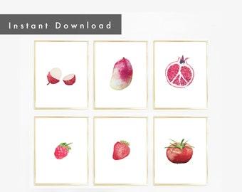 Red Fruits Printable Gallery Set | Watercolor, printable, digital download, Kitchen Decor, Wall Art, Nursery, Children's Room, wall art