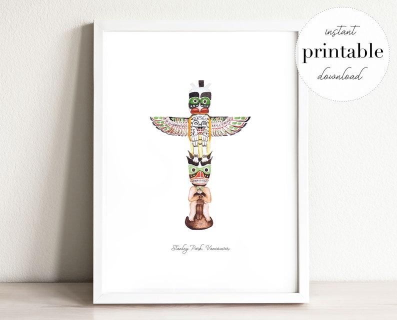 picture regarding Totem Pole Printable titled Totem Pole Printable, example, wall artwork print, nursery decor, landmark, canada, watercolor, children house, push, push print