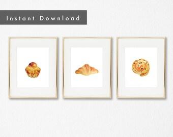 French Pastries Printable Art Set | Watercolor, printable, digital download, Kitchen Decor, Wall Art, Nursery, Children's Room, wall art