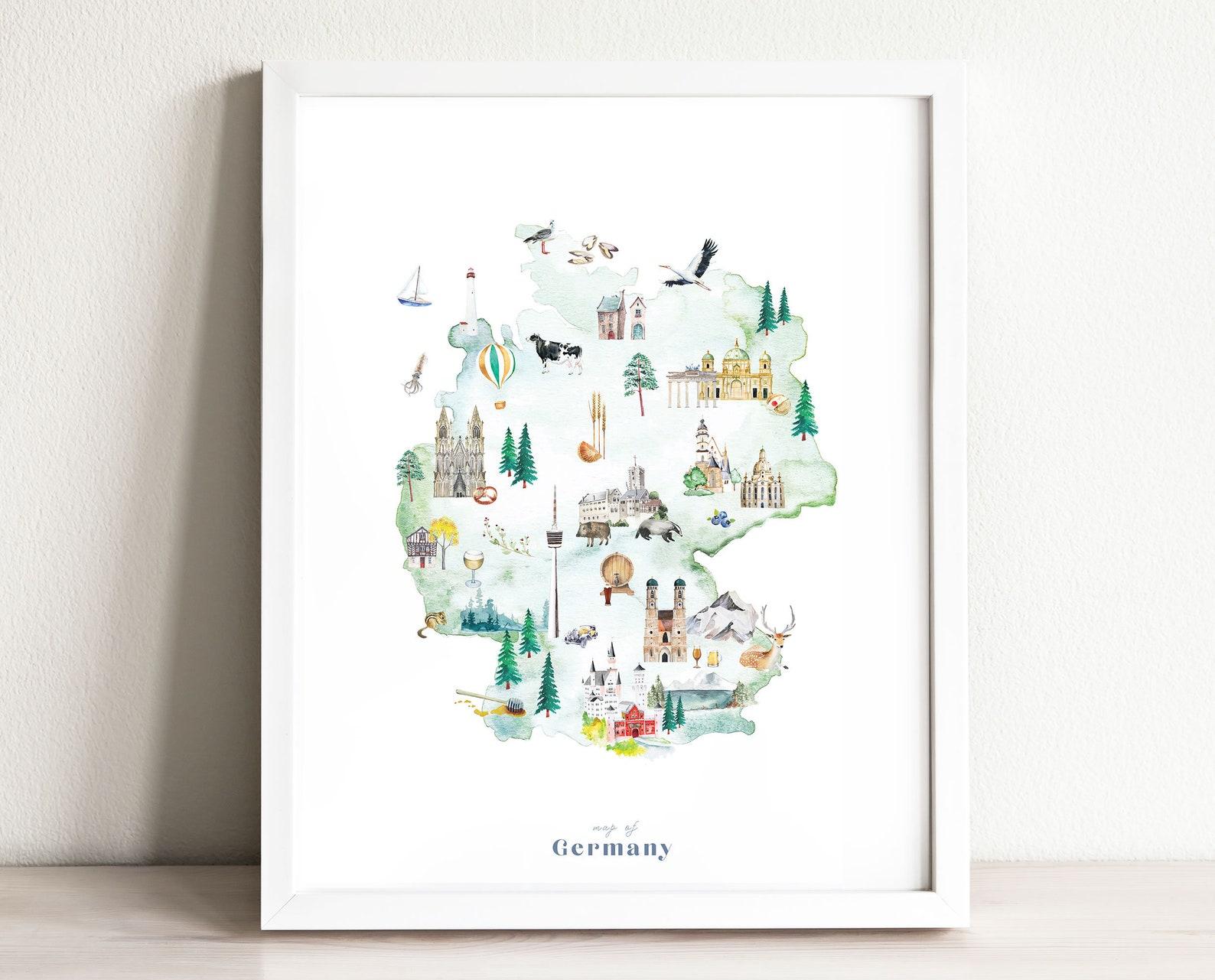 Germany Map Art Print Illustrated