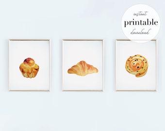 French Pastries Printable Art Set   Watercolor, printable, digital download, Kitchen Decor, Wall Art, Nursery, Children's Room, wall art