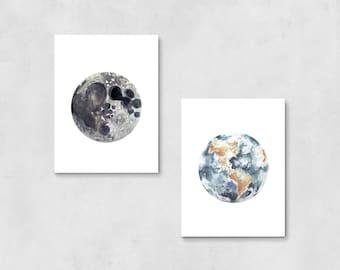 Earth Moon Art Prints | nursery art, space art, wall decor, bedroom decor, office decor, kids room decor, birthday gift, planets, boho decor