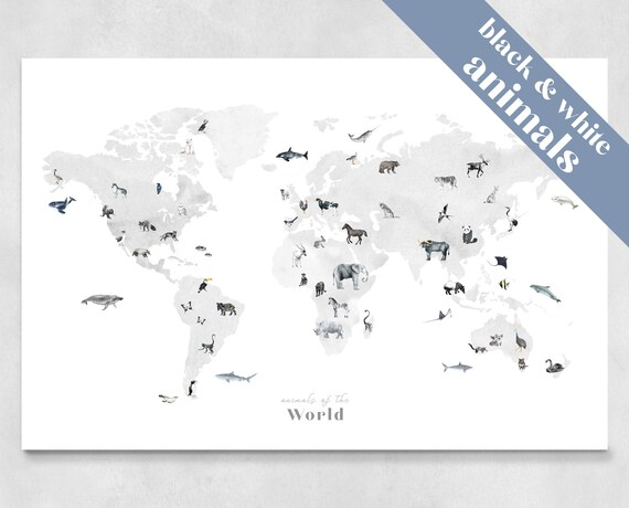 Black And White Animal World Map Wall Art Decor
