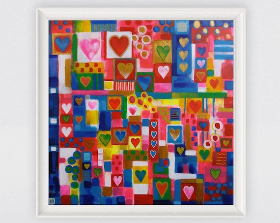 Patchwork Hearts bohemian abstract home decor, multicolored, vibrant, patterned, patchwork painting, original acrylic painting on canvas