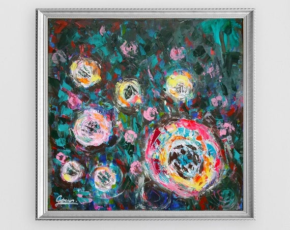 Abstract Roses romantic style, abstract floral wall decor, abstract flowers, knife painting, original acrylic painting on canvas