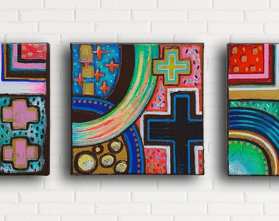 Modern Icon Set of 3 modern Christian wall decor, abstract geometric, religious paintings, spiritual symbolism, original acrylic paintings