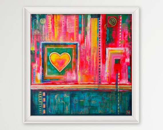 Bohemian Heart abstract wall decor, emotions, love, happiness, harmony, bohemian multicolored art, patterned, original acrylic painting