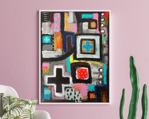 Modern Icon contemporary Christian wall art, modern abstract religious painting, spiritual symbolism, original acrylic painting on canvas