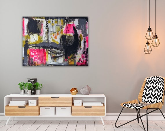 Abstract Sunset modern abstract wall art, contemporary art, abstract landscape, instinctive art, original acrylic painting on canvas