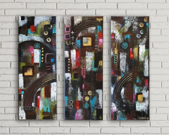 Dark Abstract Wall Decor Set of 3 modern abstract decorative art, contemporary triptych art, original acrylic structure paintings on canvas